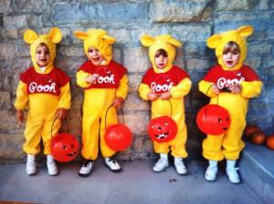 My siblings and I looking awesome in our matching pooh bear costumes!