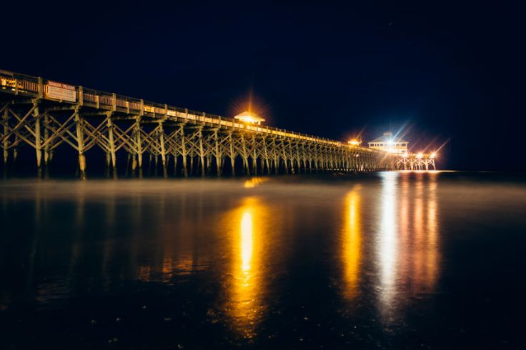 Folly Beach pier at night in Charleston, South Carolina