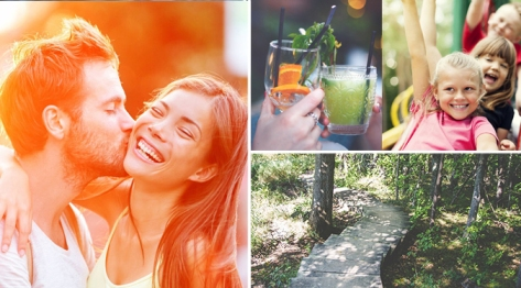 couple, kids, drinks, outdoor trail - quad image template
