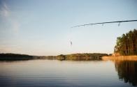 fishing pole in water