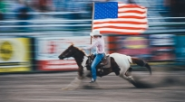 rodeo image template riding horse carrying flag