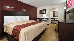 red roof plus birmingham east irondale al - newly renovated hotel - king room - wood flooring- image template